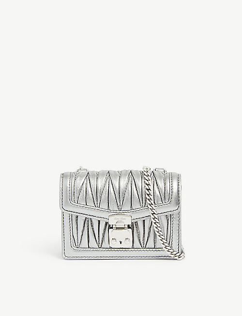 MIU MIU: Matelassé quilted leather mini pouch bag