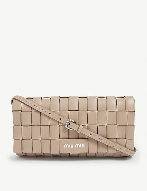 MIU MIU: Crystal-embellished woven leather cross-body bag