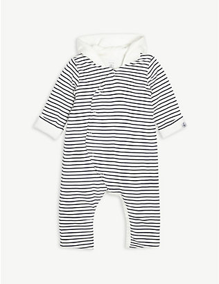 PETIT BATEAU: Striped cotton pramsuit 0-12 months