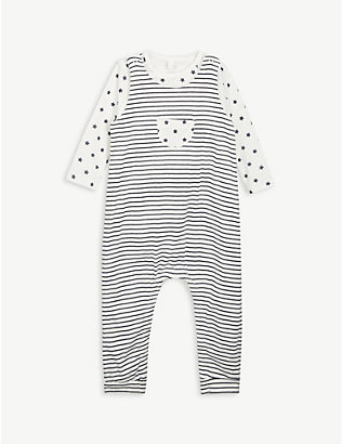 PETIT BATEAU: Stripe and star-print cotton play suit set 1-12 months