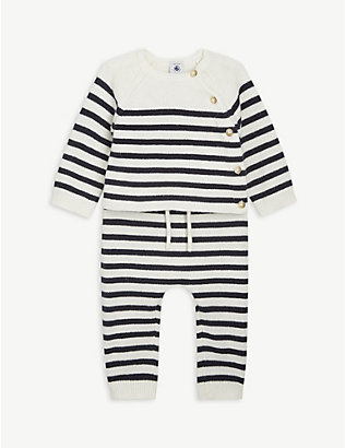 PETIT BATEAU: Striped wool-blend jumper and trousers set 1-18 months