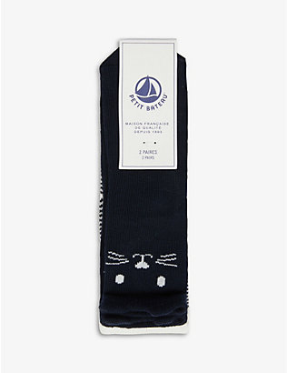 PETIT BATEAU: Cotton-blend socks pack of two 3-36 months