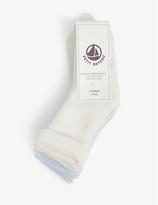 PETIT BATEAU: Marled cotton socks pack of three 0-12 months