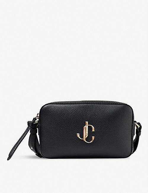 JIMMY CHOO: Varenne logo-embellished grained-leather cross-body bag