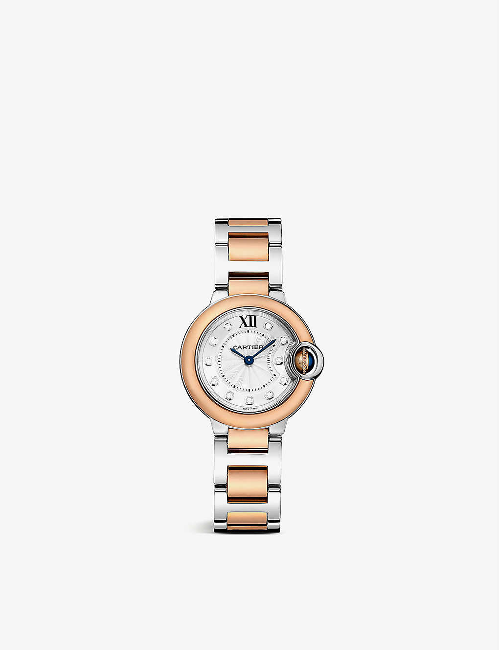 CARTIER: Ballon Bleu de Cartier 18ct rose-gold, steel and diamond quartz watch