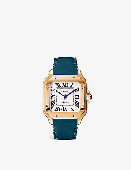 CARTIER: Santos de Cartier 18ct rose-gold, sapphire and leather interchangeable strap automatic watch