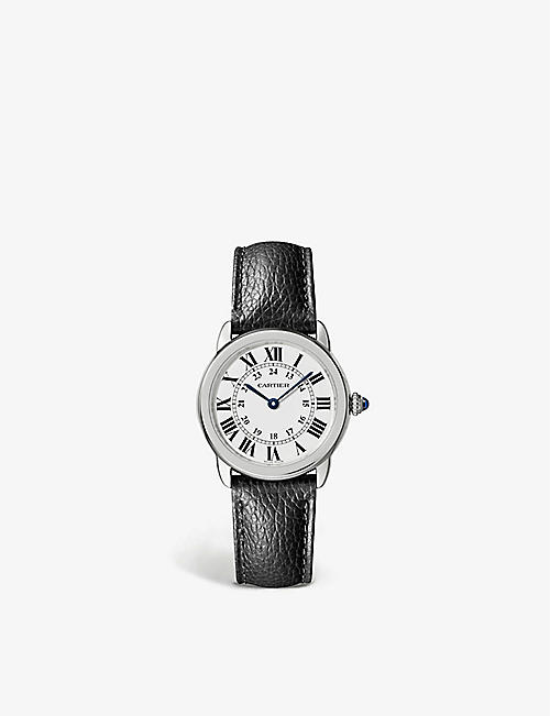CARTIER: WSRN0019 Ronde Solo de Cartier stainless-steel and interchangeable leather strap quartz watch