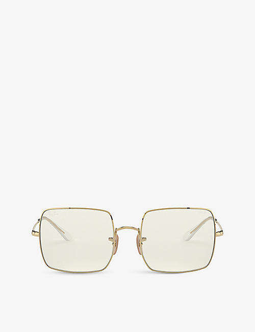 RAY-BAN: RB1971 Everglasses Square 1971 Clear Evolve square-frame metal sunglasses