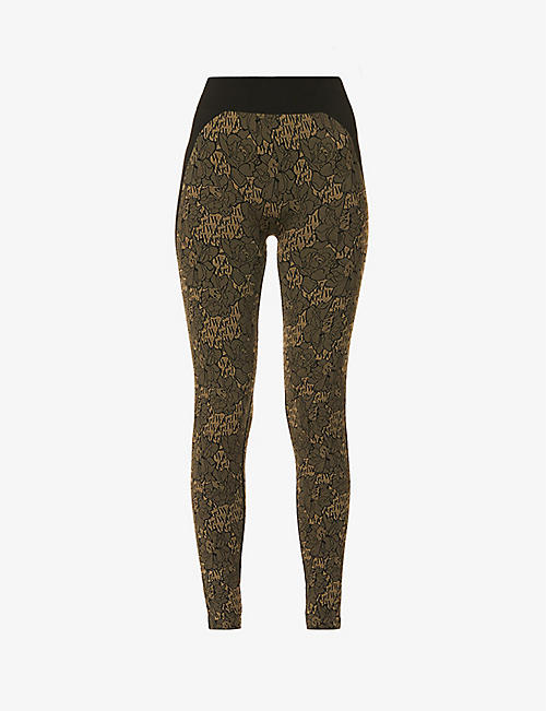 WOLFORD: Andrea graphic-print stretch-knit leggings