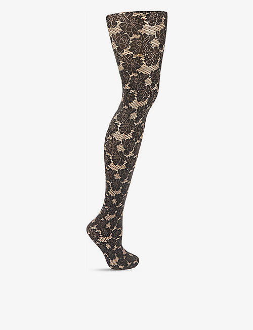 WOLFORD: Dakota floral-motif tights