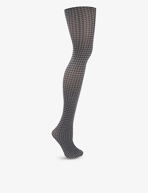 WOLFORD: Leslie houndstooth cotton-blend knitted tights