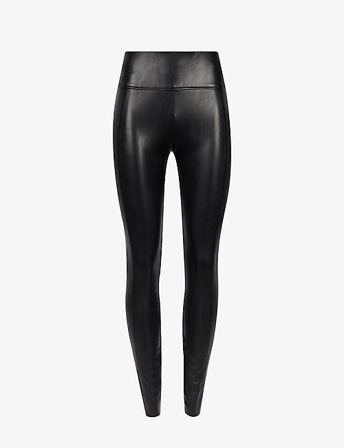 WOLFORD: Edie Forming high-rise faux-leather leggings