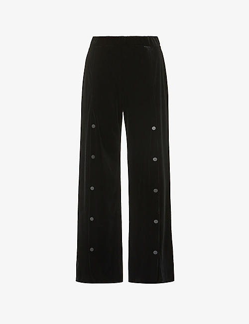 WOLFORD: Blake button-down flared high-rise velvet trousers