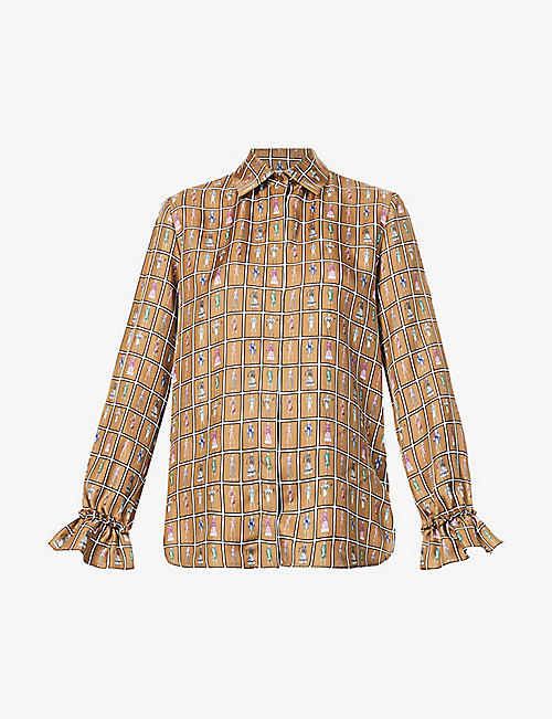 MAX MARA: Ubaldo graphic-print silk-twill blouse