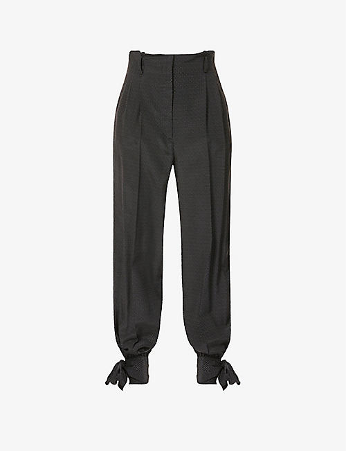 MAX MARA: Ateneo tapered silk-crepe trousers