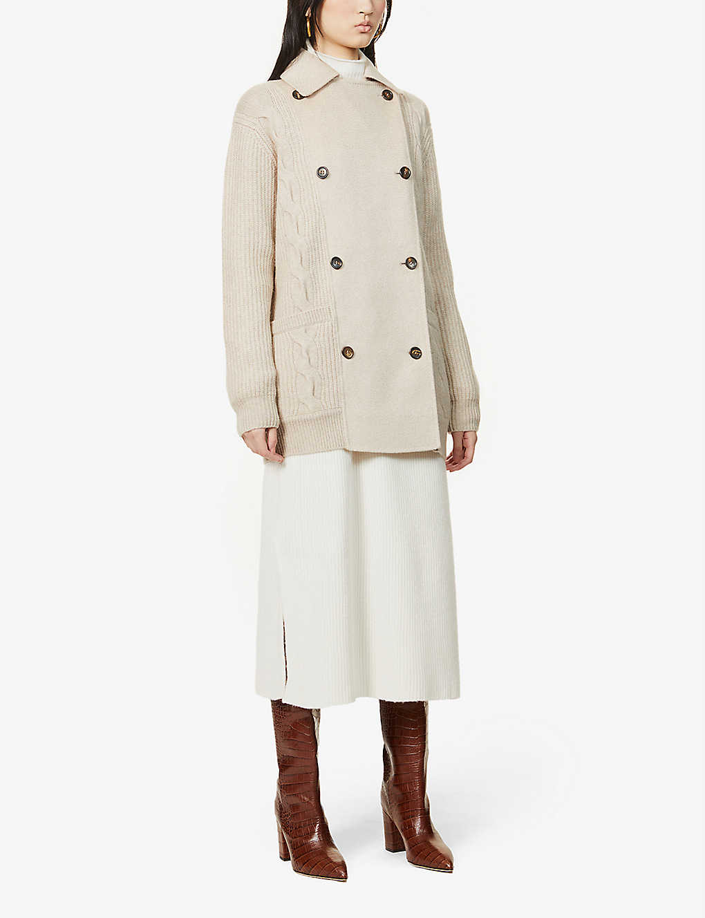 MAX MARA: Camera cable-knit wool and cashmere-blend cardigan