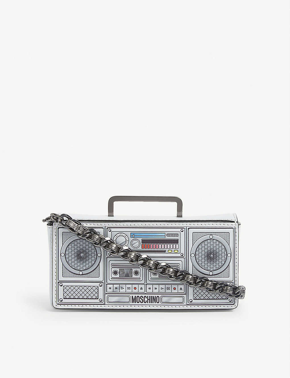MOSCHINO: Boom Box mini leather cross-body bag
