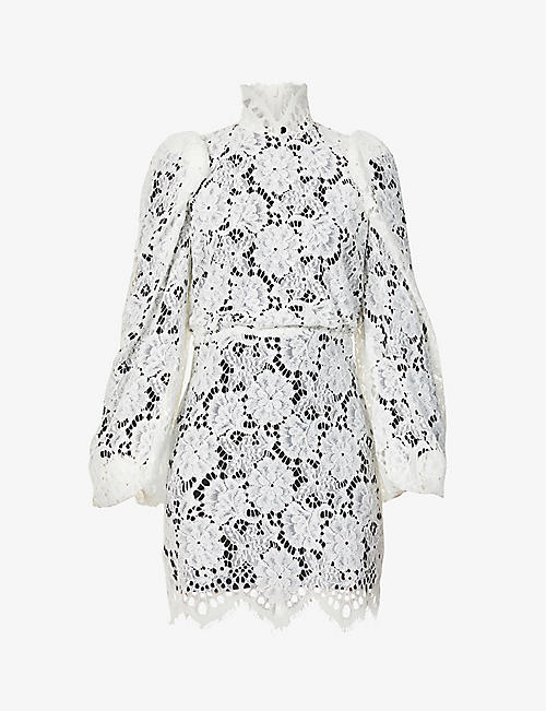 SANDRO: Mya balloon-sleeved floral-lace mini dress