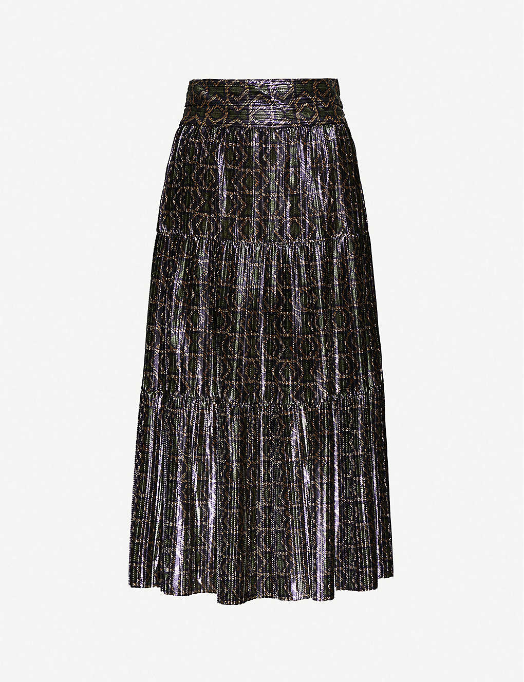 BA&SH: Prisca metallic woven midi skirt