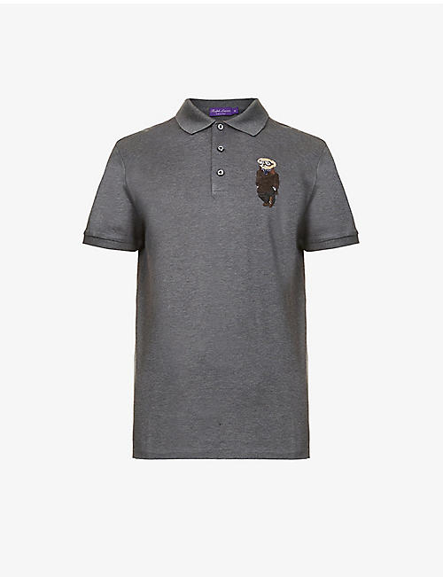 RALPH LAUREN PURPLE LABEL:小熊刺绣棉质 Polo 衫