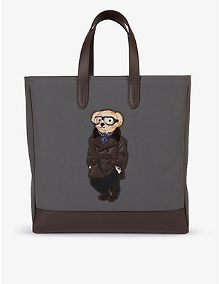 RALPH LAUREN PURPLE LABEL: Bear-print cotton and leather tote bag