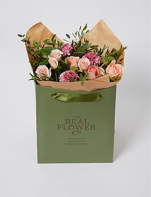 THE REAL FLOWER COMPANY: Pink English Summer scented posy