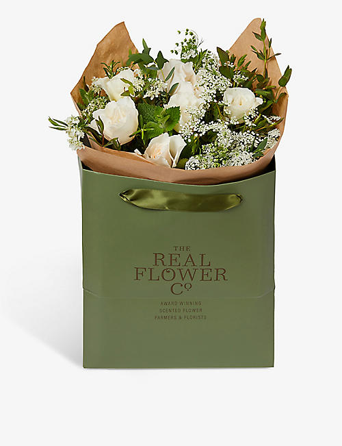THE REAL FLOWER COMPANY: Ivory English Summer scented posy