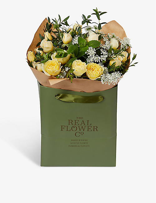 THE REAL FLOWER COMPANY: Yellow English Summer scented posy