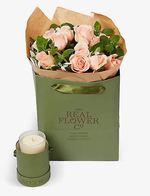 THE REAL FLOWER COMPANY: Simply Chandos Beauty scented small bouquet with candle