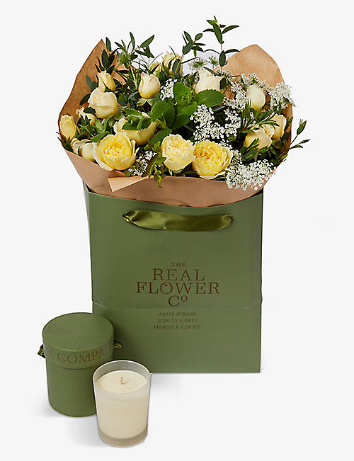 THE REAL FLOWER COMPANY: Yellow English Summer scented posy and candle