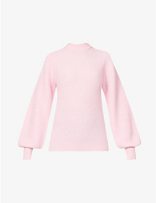 GANNI: Puffed-sleeve knitted jumper