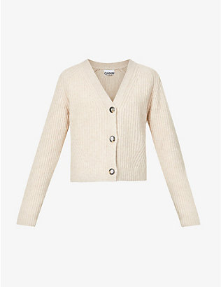 GANNI: V-neck recycled-wool blend cardigan