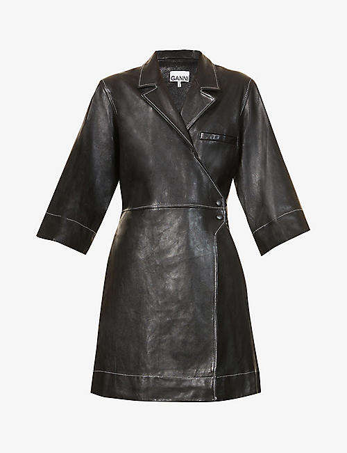 GANNI: Wrap-over leather mini dress