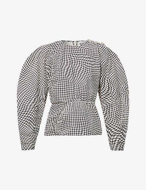GANNI: Houndstooth-print organic-cotton top
