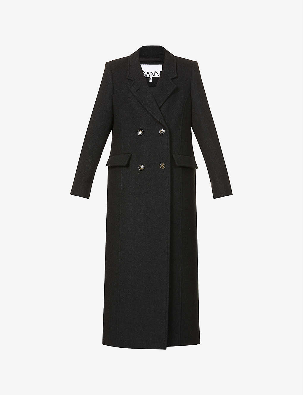 GANNI: Double-breasted recycled wool-blend coat