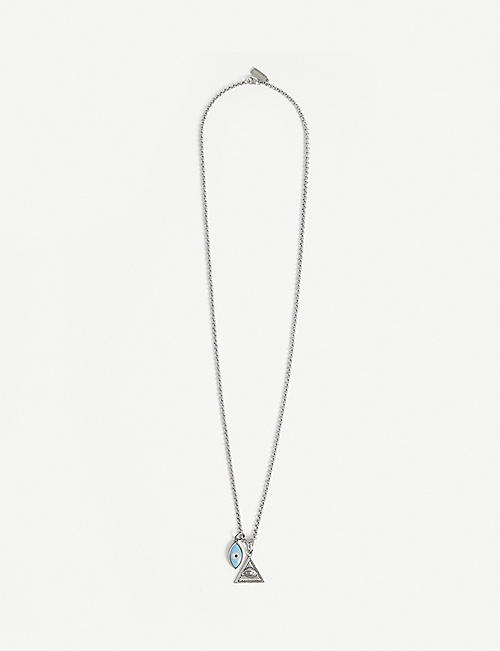 NIALAYA: Evil Eye sterling silver and turquoise enamel necklace