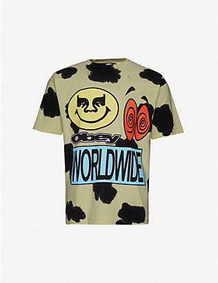 OBEY: Acid Crash Cow tie-dye cotton-jersey T-shirt