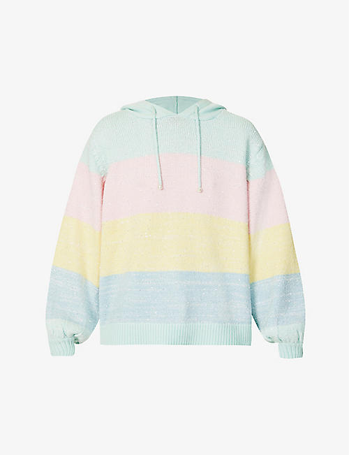 OLIVIA RUBIN: Suki stripe sequinned knitted hoody