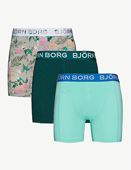 BJORN BORG: Pack of three stretch-cotton Hanakotoba boxer briefs