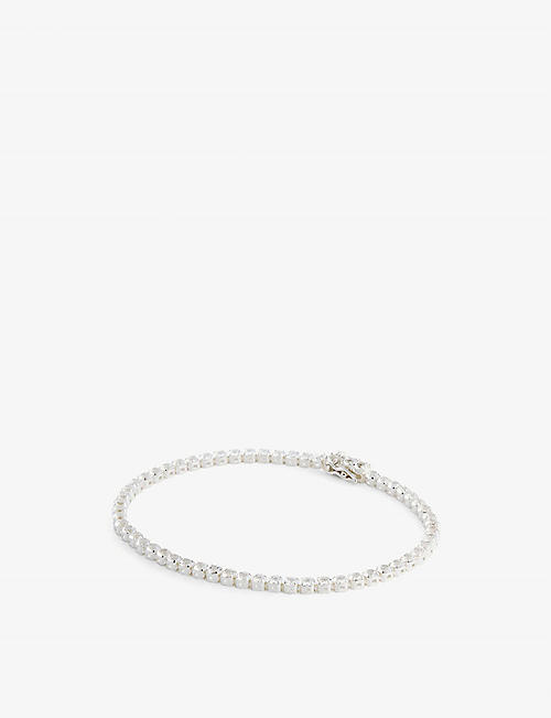 HATTON LABS: Sterling silver and white stone tennis bracelet