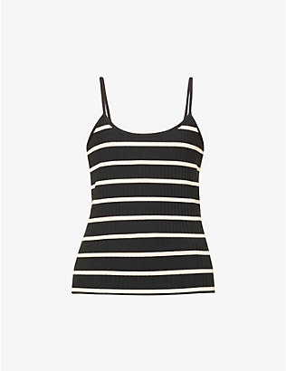 NINETY PERCENT: Striped organic cotton-blend cami top