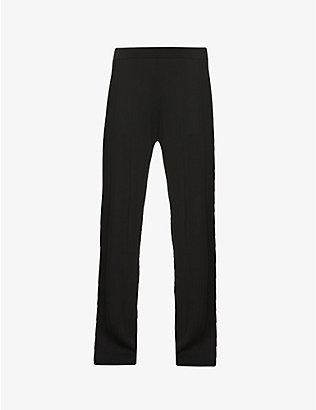 NINETY PERCENT: Ribbed straight-leg high-rise stretch-jersey trousers