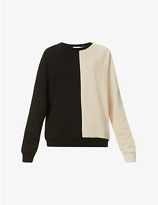 NINETY PERCENT: Two-tone organic-cotton jersey sweatshirt