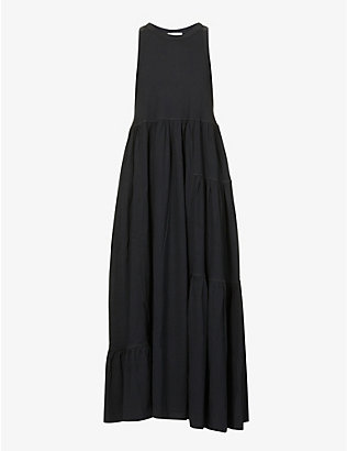 NINETY PERCENT: Tiered organic-cotton maxi dress