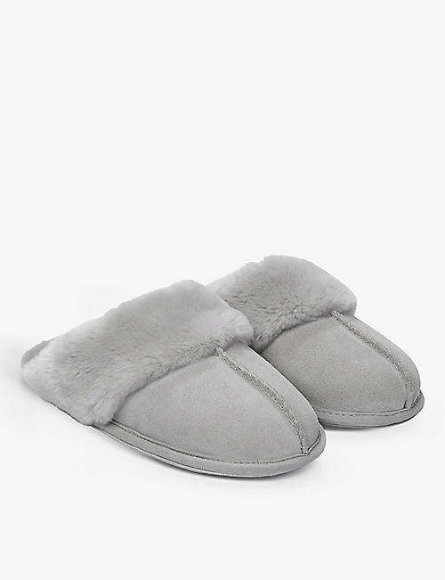 THE WHITE COMPANY: Suede faux fur-lined mule slippers