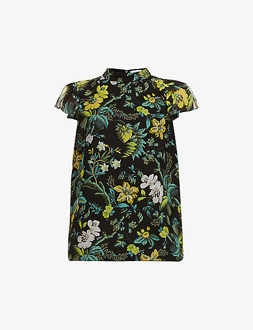 ERDEM: Opal floral-print semi-sheer silk top