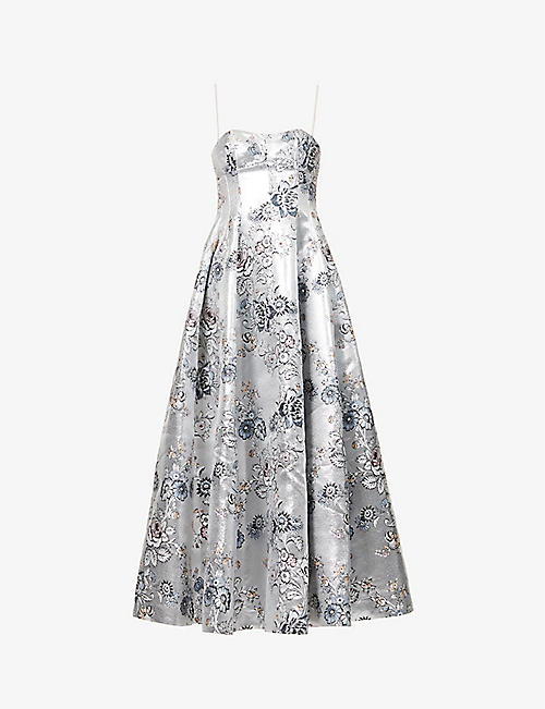 ERDEM: Adalyn floral-embroidered woven maxi dress