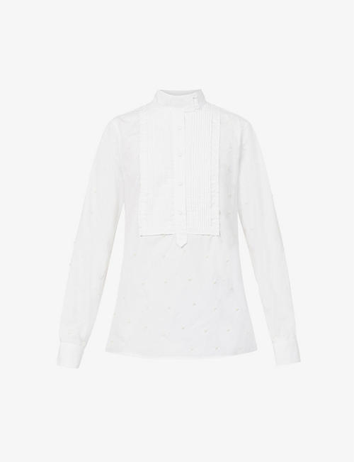 ERDEM: Ryder bead-embellished cotton shirt