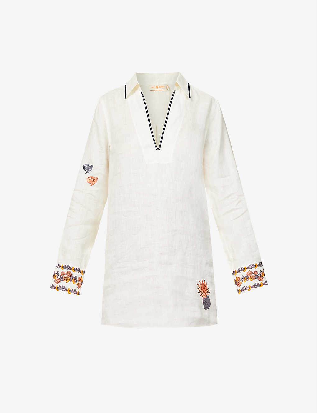 TORY BURCH: Embroidered linen beach dress