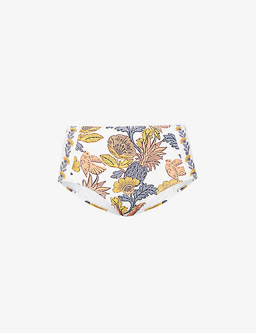 TORY BURCH: Wonderland floral-print high-rise bikini bottoms